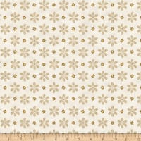 Stoffabric Denmark Magic Christmas Flowers Cream Gold