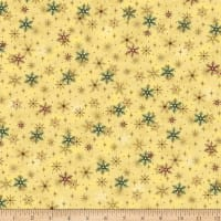 Stoffabric Denmark Magic Christmas Snow Crystals Beige Gold
