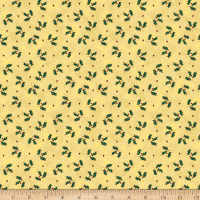 Stoffabric Denmark Magic Christmas Green Holly Beige Gold