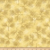 Stoffabric Denmark Magic Christmas Pine Branches Beige Gold