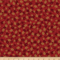 Stoffabric Denmark Magic Christmas Cones Red Gold