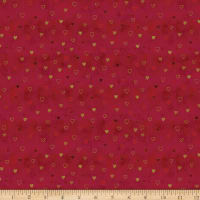 Stoffabric Denmark Magic Christmas Hearts Red Gold