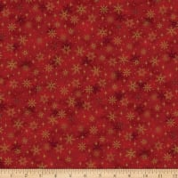 Stoffabric Denmark Magic Christmas Snow Crystals Red Gold