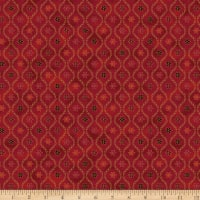Stoffabric Denmark Magic Christmas Poinsettia And Wavy Line On Red