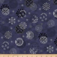 Stoffabric Denmark Magic Christmas Christmas Balls Blue Silver