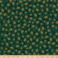 Stoffabric Denmark Magic Christmas Cones Green Gold