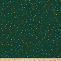 Stoffabric Denmark Magic Christmas Gold Dots Green Gold