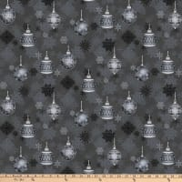 Stoffabric Denmark It's Snowflake Metallic Christmas Balls And Snow Crystals Anthracite