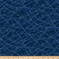 Stoffabric Denmark It's Snowflake Metallic Lines Circles & Stars Dark Blue
