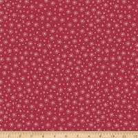 Stoffabric Denmark Little Christmas Eve White Snowflakes Red