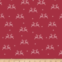 Stoffabric Denmark Little Christmas Eve Reindeers and Snowflakes Red