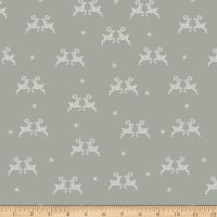 Stoffabric Denmark Little Christmas Eve Reindeers and Snowflakes Grey