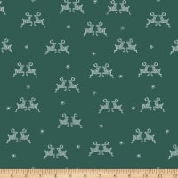 Stoffabric Denmark Little Christmas Eve Reindeers and Snowflakes Green