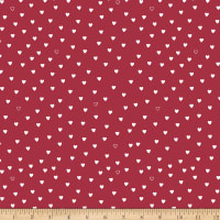 Stoffabric Denmark Little Christmas Eve White Hearts Red