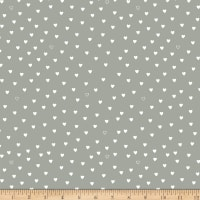 Stoffabric Denmark Little Christmas Eve White Hearts Grey