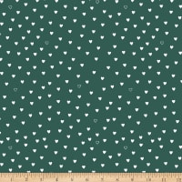 Stoffabric Denmark Little Christmas Eve White Hearts Green