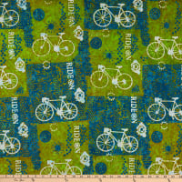 Banyan Batiks Ride On Bike Collage Teal Green