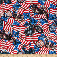 Northcott Liberty Ride 2 Bikes Flags Toss Red White & Blue