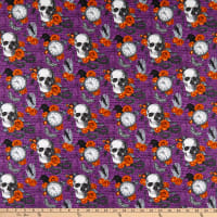 Northcott Wicked Feature Skulls and Roses Purple Multi