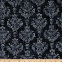 Northcott Wicked Skull Damask Black