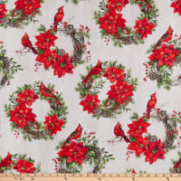Northcott Scarlet Feather Poinsettia & Cardinal Wrth Pale Gry Multi