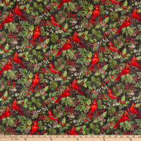 Northcott Scarlet Feather Cardinals Charcoal Multi