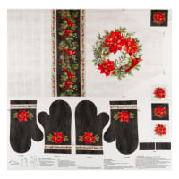 """Northcott Scarlet Feather Apron & Oven Mitts 43"""" Panel Pale Gray Multi"""