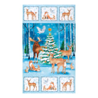 "Northcott Christmas Woodland Xmas 24"" Panel Blue Multi"