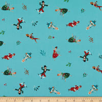 Northcott 12 Days of Christmas Little People Toss Teal Multi