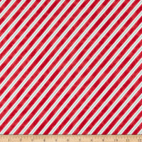 Northcott Santa Stop Here Candy Cane Stripe Red Multi