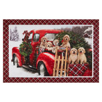 "Northcott Santa's Helpers Labrador Christmas 28"" Panel Red Multi"