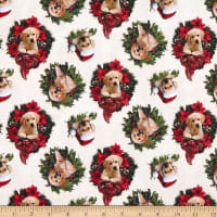 Northcott Santa's Helpers Labrador Wreath Toss Beige Multi