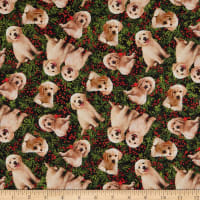 Northcott Santa's Helpers Labrador Toss Green Multi