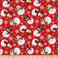 Henry Glass Timber Gnomies Tossed Snowmen Red