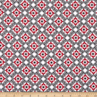 Henry Glass Moroccan Red Small Flower Trellis Red/Black