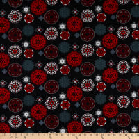 Henry Glass Moroccan Red Multi Medallion Black/Red