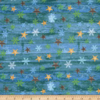 Henry Glass Flannel Pine Cone Lodge Stars On Woodgrain Blue