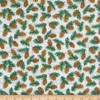 Henry Glass Flannel Pine Cone Lodge Pinecones Beige