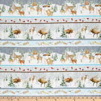 Henry Glass Snowy Woods Scenic Stripe Multi