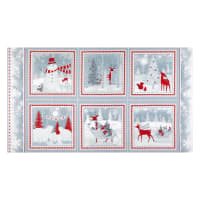 "Henry Glass Flannel Winter Frost Winter Scene Blocks 24"" Panel Red/Gray"