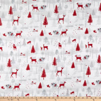 Henry Glass Flannel Winter Frost Winter Scene Animals Gray/Red