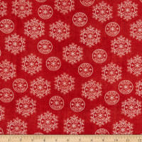 Henry Glass Flannel Winter Frost Snowflake On Texture Red