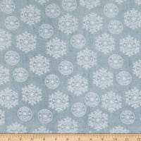 Henry Glass Flannel Winter Frost Snowflake On Texture Gray