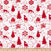 Henry Glass Flannel Winter Frost Graphic Motifs White
