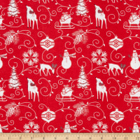 Henry Glass Flannel Winter Frost Graphic Motifs Red