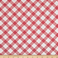 Henry Glass Flannel Winter Frost Bias Plaid Red/White