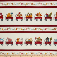 Henry Glass My Red Wagon Border Stripe Red