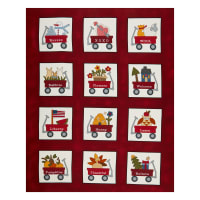 "Henry Glass My Red Wagon Calendar 36"" Panel Red"