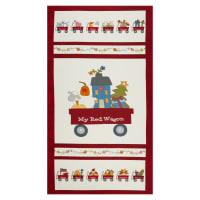 "Henry Glass My Red Wagon Banner 24"" Panel Red"