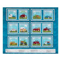 """Henry Glass Papa's Old Truck Book 36"""" Panel Teal"""